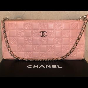 Chanel Rose Lucky Charms Quilted Icons Wristlet